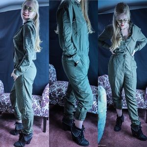 H & M army green jumpsuit size 6